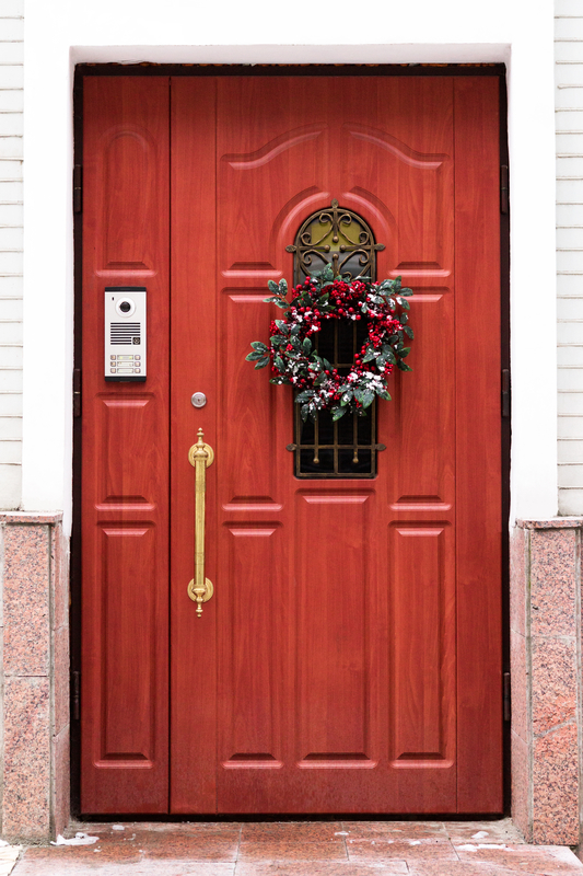 Festive front door with security lock