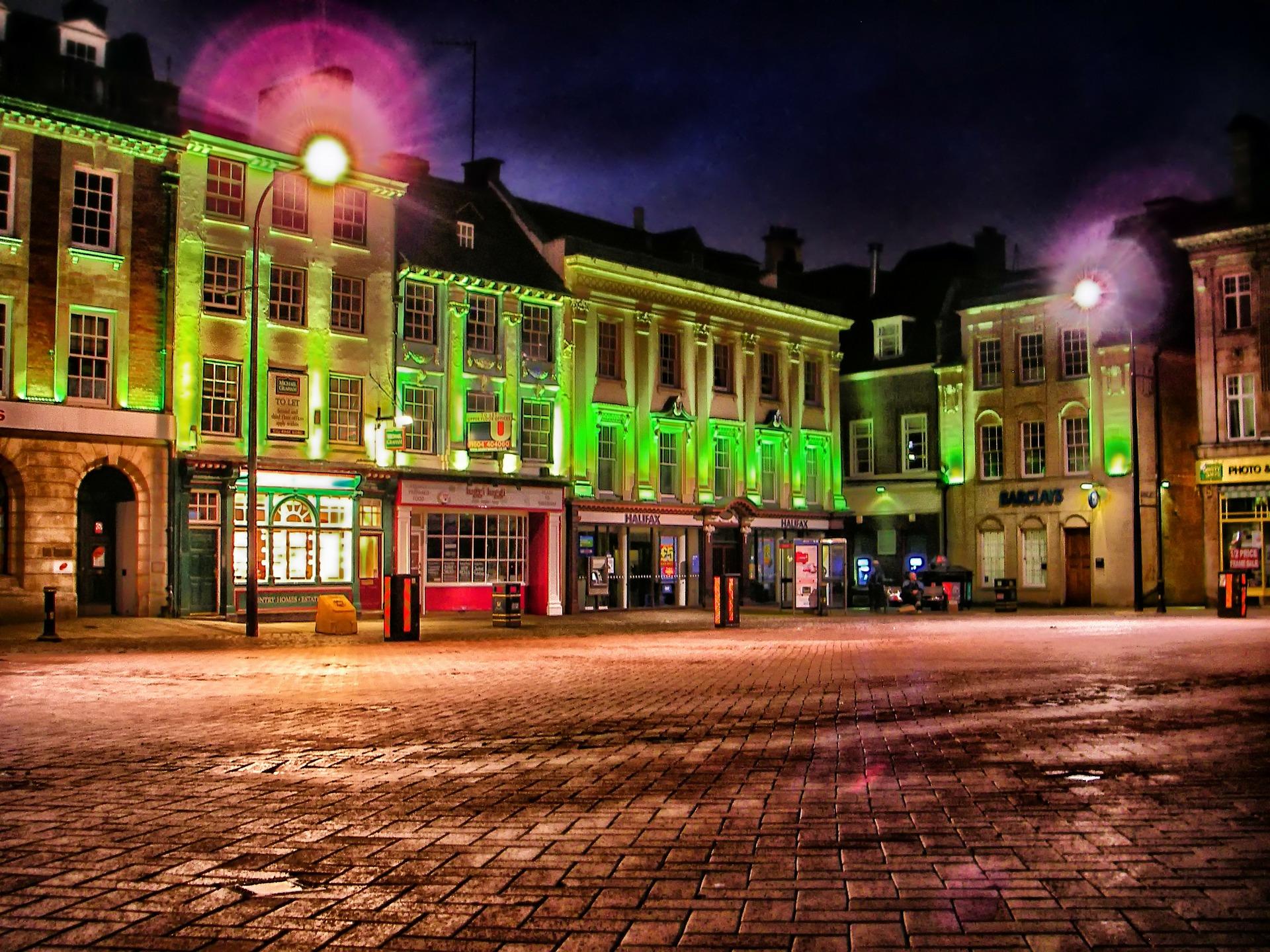 Northampton market square at night