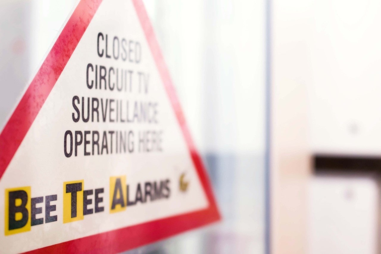 Bee Tee Alarms security sign